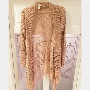 Women's Pink/Metallic Crochet Sweater Sz 1, M/L